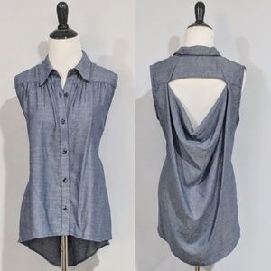 CAbi Chambray Open Back Button Down Sleeveless Top